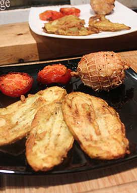 alpargatas con pata pollo rellena
